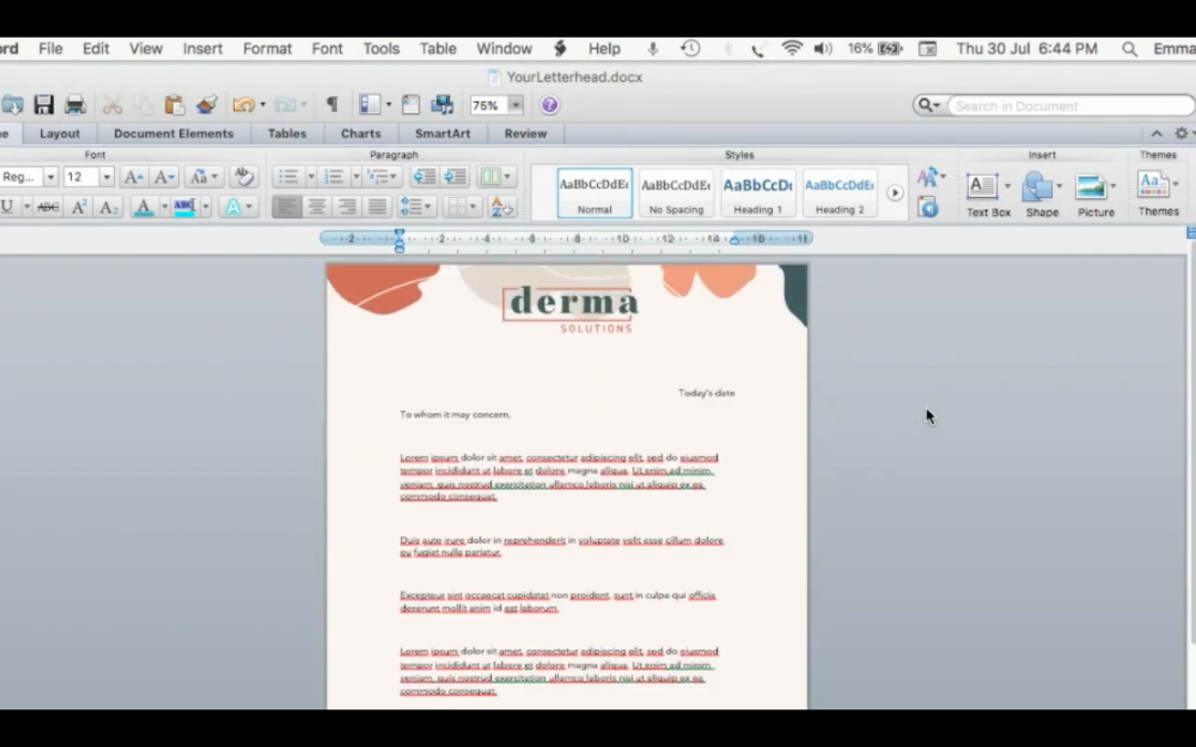 How to insert a letterhead into a word document